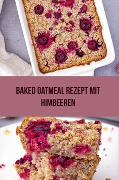 Baked oatmeal recipe with raspberries- Baked Oatmeal Rezept mit Himbeeren Do you fancy a change for breakfast and are you also an Oatmeal fan? Then I have the perfect idea for you – Baked Oatmeal. This breakfast is absolutely easy to make and delicious! Quick Vegan Breakfast, Healthy Vegan Dessert, Breakfast Desayunos, Vegan Breakfast Recipes, Vegan Recipes, Vegan Baked Oatmeal, Baked Oatmeal Recipes, Desserts Végétaliens, Sandwich Vegan