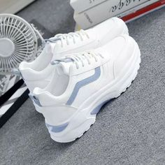 Casual Comfortable Breathable White Platform Sneakers - BeFashionova Best Picture For white fila sne Sneaker Outfits, White Platform Sneakers, White Sneakers, Platform Tennis Shoes, Dad Shoes, Girls Shoes, Ladies Shoes, Women's Shoes, Shoes Sneakers