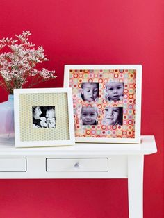 For a creative photo mat, cut square windows from patterned paper. Place the paper inside a frame, adding photos. by mariearq