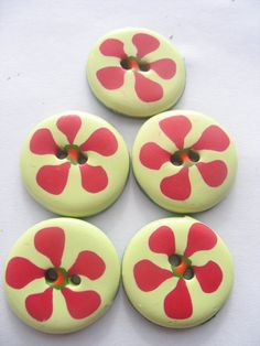 5 Handmade polymer clay buttons