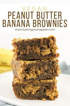 Vegan Peanut Butter Banana Brownies, loaded with peanut butter, chocolate, and bananas! These bars are a delicious alternative to traditional banana bread! dessert recipes ever delicious food Vegan Peanut Butter Banana Brownies Vegan Dessert Recipes, Vegan Sweets, Vegan Baking Recipes, Banana Recipes Vegan, Vegan Banana Cookies, Recipes With Bananas, Bread Recipes, Peanut Butter Banana Bread, Vegan Peanut Butter Cookies