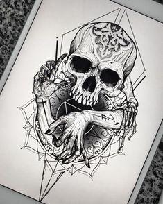 Pin de derald hallem em skull art tattoos, tattoo drawings e Trendy Tattoos, Black Tattoos, Body Art Tattoos, New Tattoos, Sleeve Tattoos, Tatto Skull, Skull Tattoo Design, Skull Art, Tattoo Designs