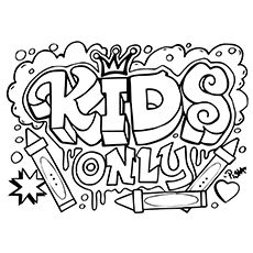 KID POWER free graffiti coloring page, free printable