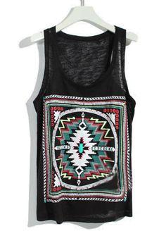 Black+Sleeveless+Loose+Geometric+Print+Vest.