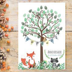 Fingerprint tree - Footprint tree for Baptism - Birthday tree - Biche children's footprint Decoration Creche, Birthday Tree, Fox And Rabbit, Fingerprint Tree, Number Two, Tree Print, Kids Prints, Forest Animals, Creations