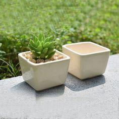 1Pc Ceramic Planter Flower Pot Vintage Plant Square Box Garden Patio Desk Decor #Unbranded