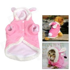 JUQI Rabbit Style Cotton Clothes for Pet Dog / Cat - Pink + White (S) - US$ 7.33 - 02/13/2014 - deal-dx