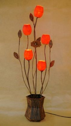 Mulberry Rice Paper Ball Handmade Five Flower Bud Design Art Shade Red Round Globe Lantern Brown Asian Oriental Decorative Accent Home Decor Bedroom Floor Uplight Lamp by Antique Alive. $159.00. This flowerpot red paper floor lamp shades consists of five lights covered with hanji paper shades in the shape of windflower buds. Each lamp shade is connected to a power source with a flexible cord that can be bent according to the user's need and desire. The frame and...