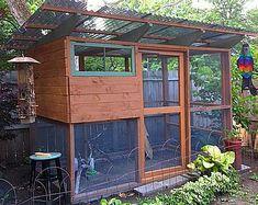 Kippenhok met een schuin dak. Gazebo, Outdoor Structures, Lifestyle, Kiosk, Pavilion, Cabana