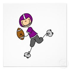 Stick Figure Football Purple Custom Invitation at Zazzle.ca