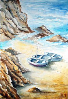"""""""spiaggia dall'elicottero"""" acquerello di Lorenza Pasquali 35x51"""