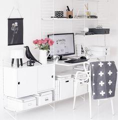 String shelves Office Workspace, Office Decor, Home Office, String Regal, String Shelf, Room Interior, Interior Design, Desk Shelves, Ikea Hacks