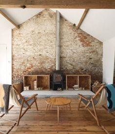 Usually the living room interior of the exposed brick wall is rustic, elegant, and casual. Exposed brick wall will affect the overall look of your house more appreciably. Sweet Home, Barn Living, Living Rooms, Living Area, Exposed Brick Walls, Exposed Beams, Whitewashed Brick, Faux Brick, Stone Walls
