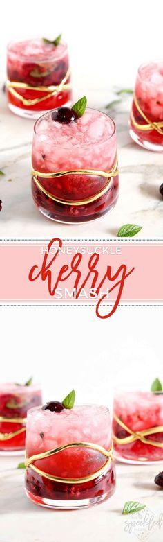 Summertime never tasted so tart and refreshing! The Honeysuckle Cherry Smash features muddled cherries, fresh mint, lemon juice and honeysuckle vodka! | cherry cocktail | cherry vodka cocktail | vodka cocktail | summer cocktail | summer fruit cocktail | m #summercocktails