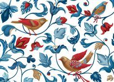 "Textile bird pattern for ""Secret Garden"" clothes brand on Behance"
