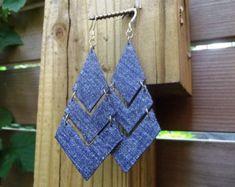 Drop Diamond Denim Jean Earrings by maidendenim on Etsy