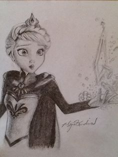 my sister's amazing drawing of elsa♡
