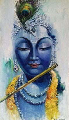 Buy Krishna In Blue painting online - original museum quality artwork by Vishal Gurjar, available at Gallerist. Check price, painting and details online. Arte Krishna, Krishna Radha, Radha Krishna Paintings, Krishna Drawing, Hanuman, Religious Paintings, Indian Art Paintings, Modern Art Paintings, Abstract Paintings