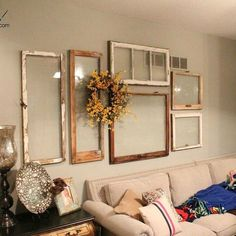 11 totally Unexpected Ways to Fill Your Blank Walls (in Minutes!) s 11 totally unexpected ways to fill your blank walls in minutes, repurposing upcycling, wall deco Old Window Frames, Empty Frames Decor, Wall Of Frames, Old Window Ideas, Empty Wall Spaces, Funky Junk Interiors, Old Windows, Antique Windows, Vintage Windows