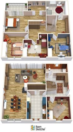 Planning a home move in the New Year? Figure out how to layout out your new rooms, what you can take with, and what you might need with a Floor Plan. With RoomSketcher you can create one yourself or order them online. Plus, our digital floor plans are - Layouts Casa, Bedroom Layouts, House Layouts, Sims House Plans, House Layout Plans, House Floor Plans, Apartment Floor Plans, Small Apartment Plans, Moving House