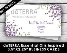 doTERRA ESSENTIAL OILS Lavender/White Business Card - DIGITAL, Marketing Tools, Printable, Business Stationery, Calling Cards, Direct Sales