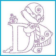 Sunbonnet Alphabet Winter - Livre instantâneas Designs máquina de bordar