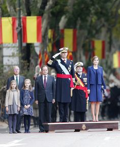 (L-R) Infanta Sofia of Spain,Princess Leonor of Spain, King Felipe VI of Spain and Queen Letizia of Spain attend the National Day Military Parade 2015 on October 12, 2015 in Madrid, Spain.