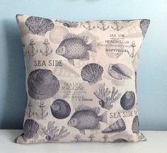 Coastal pillow cover. Navy blue & gray. Fish by sterlingstitchery