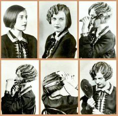Marcel waves. This picture shows a step-by-step tutorial on how to make the Marcel waves in the hair that were popular during the 20s.