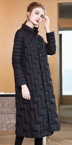 Women Pure Color Loose Long Down Coat Casual Winter Outfits 3886 Winter Coats Women, Coats For Women, Clothes For Women, Beautiful Clothes, Beautiful Outfits, Casual Winter Outfits, Summer Outfits, Long Down Coat, Blazer