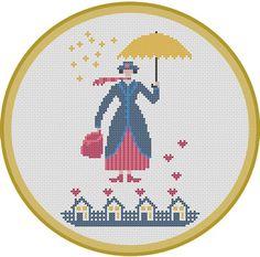 Mary Poppins. Instant Download PDF Cross Stitch door PatternBird
