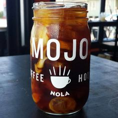 Mojo Coffee House in New Orleans. Mason jar for cold drinks