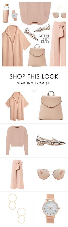 """Peachy: Model Off Duty"" by catchsomeraes ❤ liked on Polyvore featuring MANGO, The Elder Statesman, Nicholas Kirkwood, Topshop, Christian Dior, Ettika, Aéropostale, Soma, monochrome and modeloffduty"