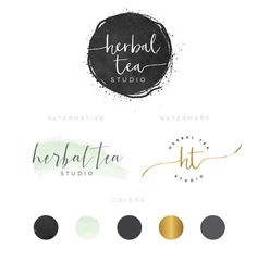 Branding kit watercolor Logo Design Premade Branding Package- watermark…