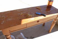 Refinishing Broyhill Fontana Pine Table Sofa Redo Farmhouse Dining