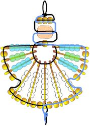 "Make a Safety Pin Angel with little preparation and few supplies.    You need:    5 Safety Pins, Size 4  6 Safety Pins, Size 2  49 Red, White & Blue Pony Beads or   Translucent Pony Beads  20 Metallic Pony Beads  White Glue  30"" Metallic Cord  One 16mm Wooden Barrel Bead  Directions can be found at: http://www.makingfriends.com/safepin/safety_pin_angle.htm"