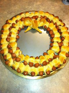 Wreath shaped Pigs in the Blanket!!!!