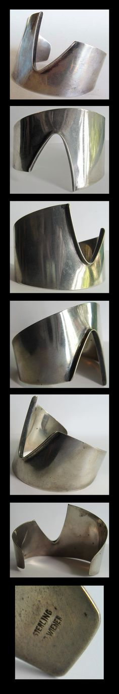 Ed Wiener Vintage Wide Modernist Sterling Silver Cuff Bracelet | eBay--for the pricetag on this bracelet I wish they had a photo of someone wearing it.
