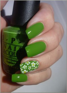 OPI - Green-wich Village, white polish and yellow acrylic paint, dotting tools.
