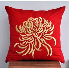 "Gold Chrysanthemum Embroidered Decorative Pillow Cover 18"" x 18""- Red Linen with Gold Flower Embroidery found on Polyvore"