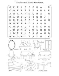 Preschool Word Search Puzzle Furniture
