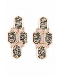 Kara Ross: 4 Piece Hexagon Earrings, Gold with Chartreuse Ring Lizard