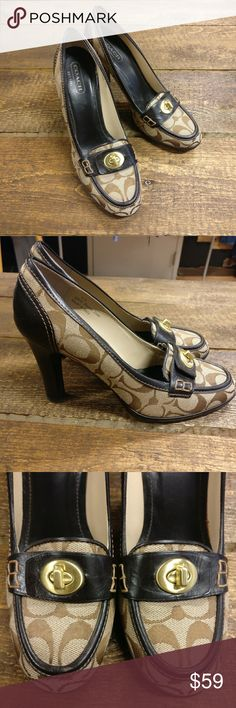 """COACH Bronze Leather Signature """"Danna"""" Heels EUC COACH Bronze Leather Signature Turnlock Buckle """"Danna"""" Pumps  Size 8B.  Made in Italy.  Excellent used condition, worn twice. See photos.  Super cute and comfortable pumps.  Guaranteed authentic. Coach Shoes Heels"""