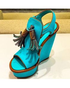 Louis Vuitton Destination Wedge Sandal Teal #summer