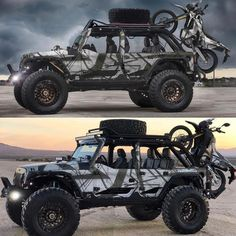 From concept to reality vs reality or reality verse rendering?♂️ Maximum Elevation Off-Road Wrangler with custom bike lift attachment Wrangler Jeep, Jeep Jk, Auto Jeep, Jeep Truck, Jeep Wrangler Unlimited, Jeep Rubicon, Ford Trucks, Badass Jeep, Jeep Camping