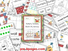 Humpty Dumpty Printable Math and Literacy Resources via www.pre-kpages.com