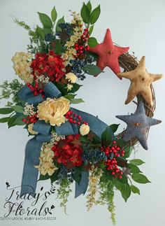 Primitive Red, White, Blue Stars Wreath.  See this and many more wreaths at my website www.tracysflorals.com  Order yours in time for the upcoming summer holidays