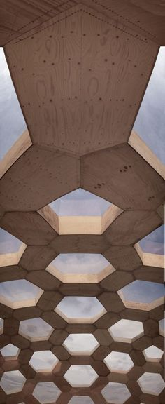Plywood covered hexagonal trusses.