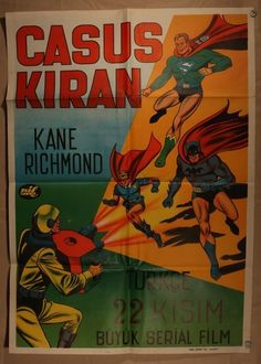Vintage Turkish serial movie poster Superman Batman and Robin