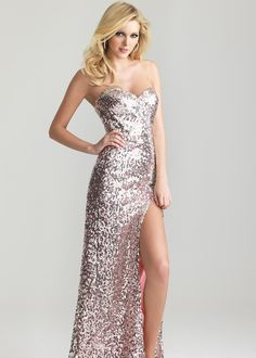 SEXY Pink Sequin Strapless Evening Gown with a High Slit and Sweetheart Neckline - Prom Dresses 2013 - RissyRoos.com - Night Moves 6644